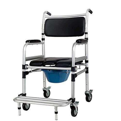 Massage-AED Toilettenstuhl Mit Rollen, höhenverstellbarer Klappduschstuhl aus Aluminiumlegierung für ältere Schwangere/Behinderte, extra breite Kommode