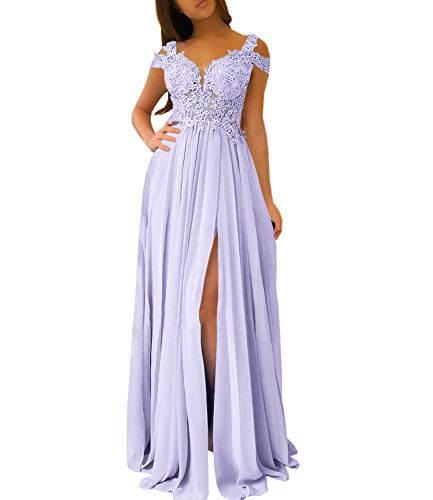 Women's Bridesmaid Dress Appliqued Long Chiffon Formal Party Prom Gowns with Side Split (US6, Lavender)