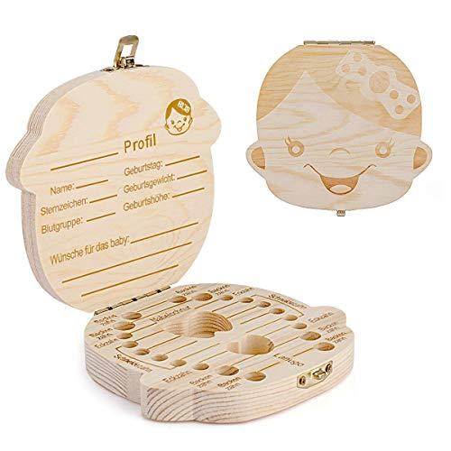 Zahnbox Holz Milchzähne Box [Deutsch Version] Zahndose Milchzahndose Zahndöschen für Kinder (Maedchen)