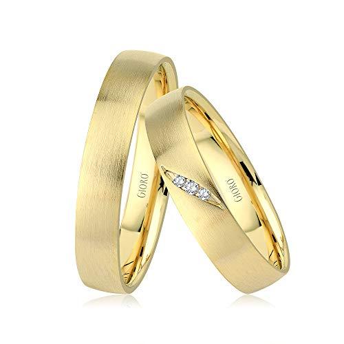 GIORO Enna Eheringe Trauringe Hochzeitsringe massiv Gold *handgefasste Brillanten* Paarpreis Echtes Gold (14 Karat (585) Gelbgold)