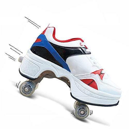 WEDSGTV Roller Skates Madchen Verstelbar 2in1 Mehrzweckschuhe Deformation Roller Skates Verformung Quadlaufen Stiefel Skateboardschuhe,Red-EU38/UK4.5-5