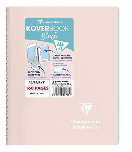 Clairefontaine 366778C - Un cahier à spirale Koverbook Blush 160 pages 14,8x21 cm 90g lignées, couverture polypro (plastique) enveloppante, Rose poudré