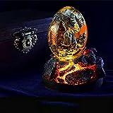 Lava Dragon Egg,Crystal Transparent Lava Dragon Egg Resin Handmade Sculpture Fire Pocket Dragon Souvenir for Desktop Ornaments Exquisite Unique Gift (Red+Luminous Base)