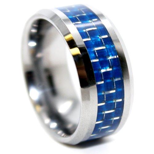 10mm Blue Carbon Fiber Mens Wedding Band Size (14)