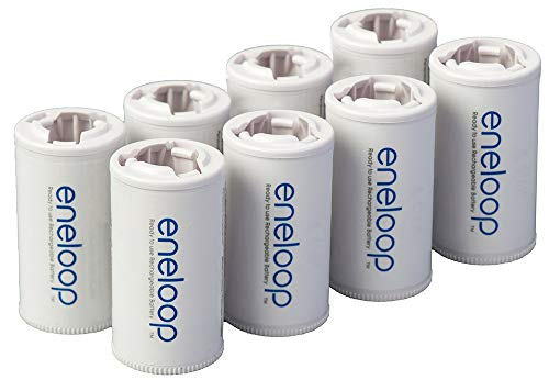 Panasonic BQ-BS2E8SA eneloop C Size Battery Adapters for Use with Ni-MH Rechargeable AA Battery Cells, 8 Pack