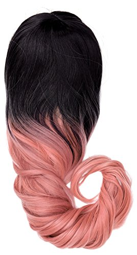 amback lange dye donkere wortels Ombre Cosplay Halloweenpruik voor vrouwen krullend haar pruiken kap/roze rf28