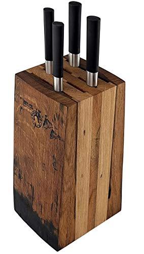 Exklusives Messerblockset Kai Wasabi Black 67-W18 | ultrascharfes Kochmesser-Set | Kochmesser +Allzweckmesser + Officemesser + Brotmesser +massiver Messerblock aus Alten Fassdauben (Eiche)