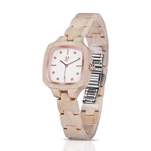 Reloj Madera Mujer - MODUN, movimiento de cuarzo analógico de Japón   Reloj de pulsera artesanal de madera de arce natural para mujer   Ligero reloj cuadrado pequeño de madera con pulsera ajustable