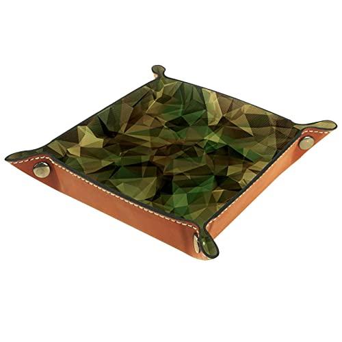 Caja de almacenamiento pequeña, bandeja de valet para hombre,camuflaje militar,Organizador de cuero para llaves de caja de monedas