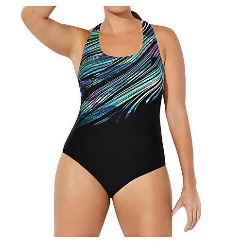 Traje de Baño con Impresión de Rayas de Color Talla Grande Trajes de Una Pieza Deportivos para Mujer Bañadores de Deporte Verano Ropa de Baño Suave y Ligero Buceo,Natación,Surf