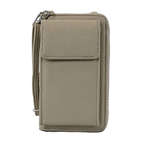 irisaa Damen Handy Umhängetasche Geldbörse RFID Schutz - Crossbody Handtasche Schultertasche Brieftasche mit Handyfach und Verstellbarem Schultergurt, Damen Tasche:Taupe