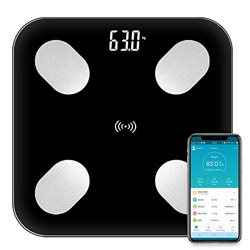 Báscula de grasa corporal Floor Scientific Smart Electronic LED Peso digital Básculas de baño Balance Bluetooth APP, Negro