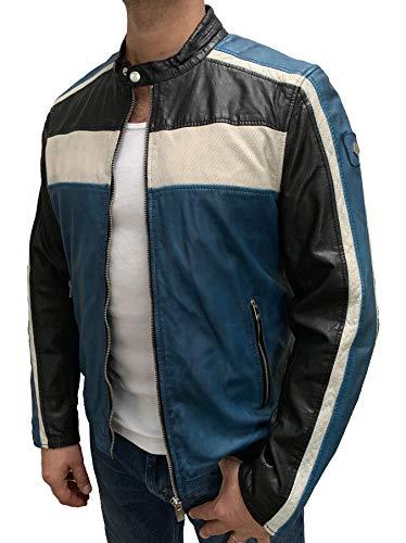 MILESTONE Jack Sportive Herren Lederjacke im Biker-Look mit perforierten Details (50, Blau)