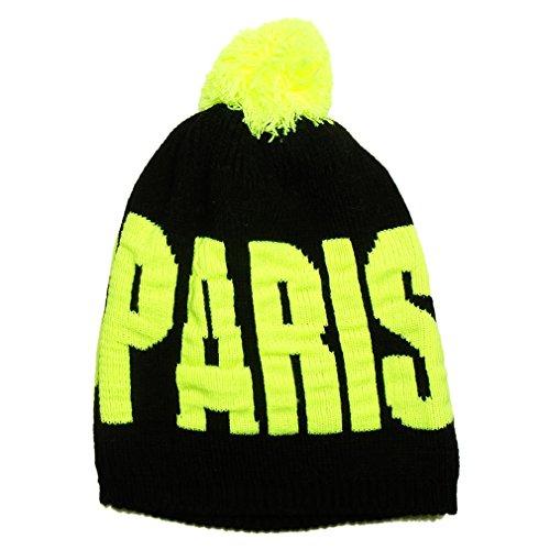 Souvenirs de France - Bonnet 'Paris' à Pompon - Noir