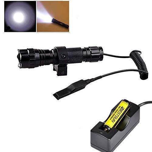 Bestsun tattico torcia impermeabile XM-L2 LED 1200 lumen 1 modalità alto 3 – 18 V lampada caccia torcia con interruttore a pressione e rifle Mount for Picatinny AR ( batteria e caricabatterie incluso)