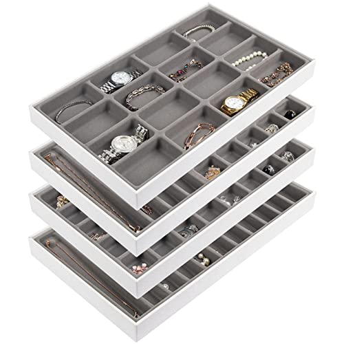 JackCubeDesign Stapelbar Leder Schmuck Tablett Ohrring Halskette Armband Ring Veranstalter Display Aufbewahrungsbox (4er Set, Weiß, 40,6 x 24,4 x 4 cm) -MK212-2ABCD