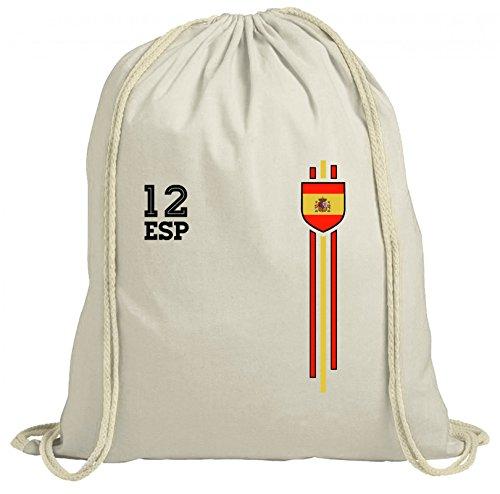 ShirtStreet Espana Spain World Cup Fussball WM Fanfest Gruppen natur Turnbeutel Rucksack Gymsac Streifen Trikot Spanien, Größe: onesize,natur