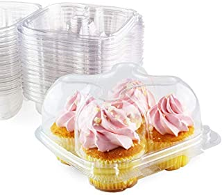 Chefible Premium 4 Pack Cupcake Container, Cupcake Box | High Dome, Extra Sturdy and Stackable! | 25 Pack