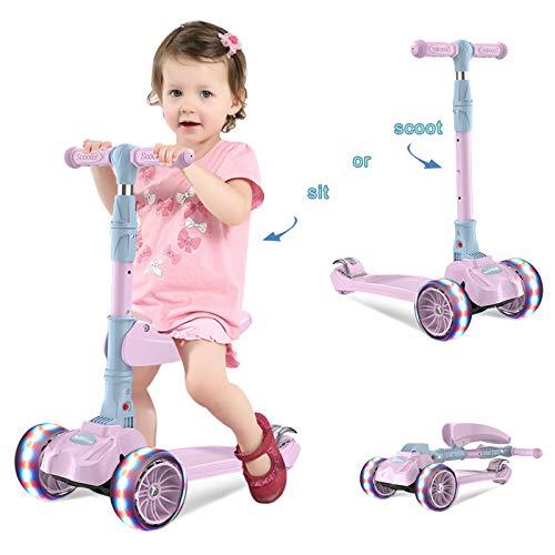 Barakara Trottinette 3 en 1 Scooter pour Enfants/Bébé, Trottinette Pliable 3 Roues Patinette...