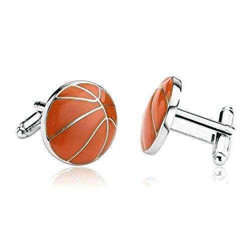 Daesar 2 Piezas Gemelos Hombre Rodio Plateado Naranja Esmalte Hombres Deportes Baloncesto Camisa Alianzas de Boda