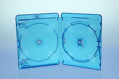 10 Amaray BluRay Hüllen 15mm / 2fach 2er BD Hüllen / Farbe: blau / high quality