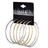Nicole Miller New York Set (3pc) Pairs of Silvertone Goldtone Rosegold Rough Textured Hoop Earrings