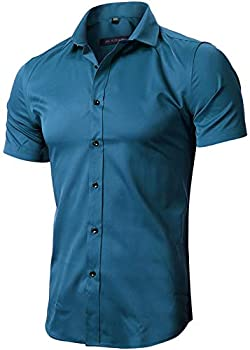 FLY HAWK Mens Tailored Short Sleeve Button Down Shirt with Stretch,Dark Blue US S
