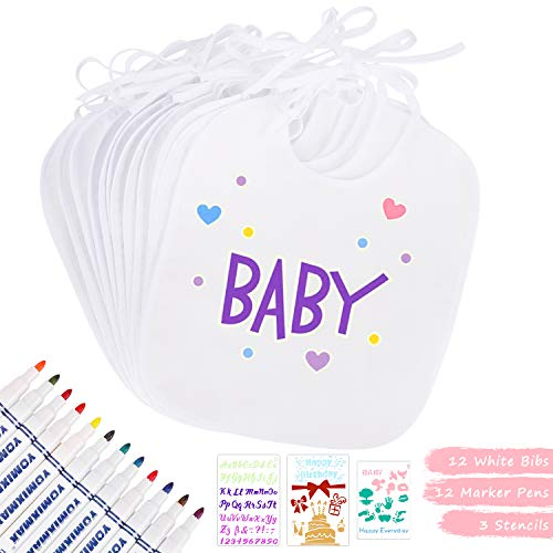 Winload Bavaglini Bianco per Bambini, 12 Pcs DIY Bavette Neonato con 12 Pezzi Pennarelli Tessili e 3 Stencil, Bavaglino Bandana Impermeabile per Baby Shower Party