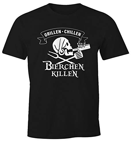 MoonWorks® Herren T-Shirt Grillen Chillen Bierchen Killen Pirat Skull Bier Spruch lustig Fun-Shirt schwarz XXL
