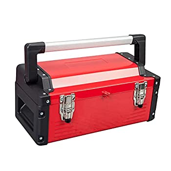 Jack Boss Metal Tool Box Steel 16  Inch Tool Organizer Box Durable Portable Tool Storage with Alum Alloy Handle Double-Lock Toolbox & Removable Tray