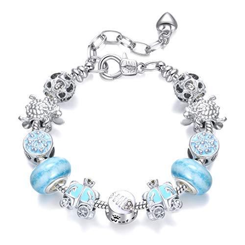 Azul Azul Estética Calabaza Coche Diy Aleación Plateada Chapado Gran Agujero Pulsera De Mano Para Enviar Miel De Señoras