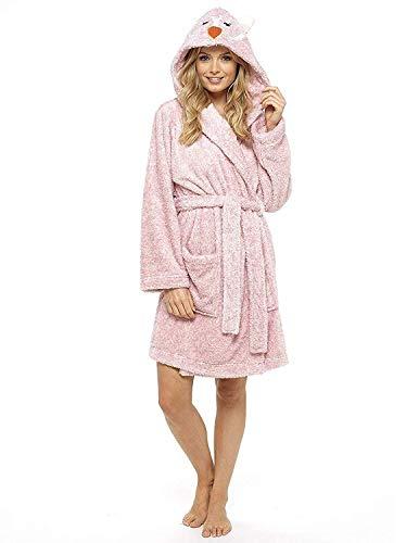 CityComfort Damen Bademantel Plüsch Damen Robe Neuheit Tierhaube Super Soft Touch Fleece Pinguin Eule mit Kapuze Bademäntel (L, Eule)