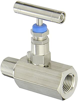 "PIC Gauge HV-SS-1/2-HS-180-MXF 316 Stainless Steel Hex Body Straight Needle Valve with Hydraulic Service Seat, 1/2"" Male NPT x 1/2"" Female NPT Connection Size, 10,000 psi Pressure by PIC Gauges"