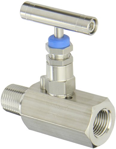 PIC Gauge HV-SS-1/2-HS-180-MXF 316 Stainless Steel Hex Body Straight Needle Valve with Hydraulic Service Seat, 1/2