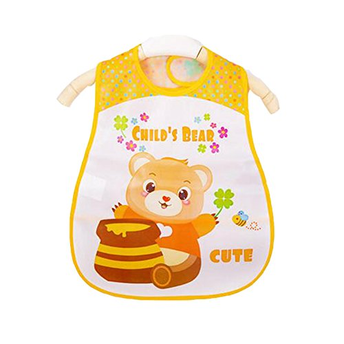 Weich-PVC, EVA-Baby wasserdichte Lätzchen für 1-3 Jahre Baby Gelber Bär