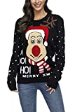 Pink Queen Women's Ugly Christmas Sweater Jumpers Black Size L