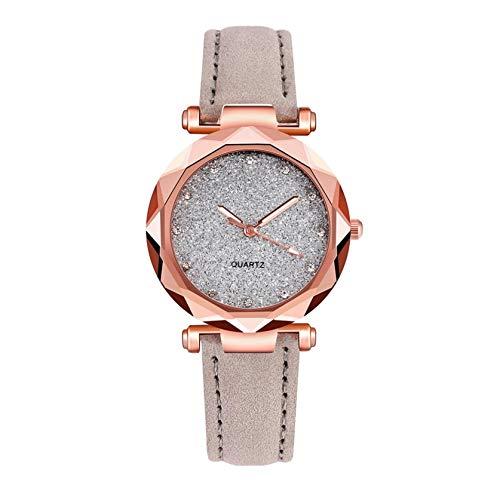 N / A Damen Sternenhimmel Analog Quarz Armbanduhr mit PU Leder Armband, Kreative Frauen Uhren Ultradünne Armbanduhren Schmale Handgelenke Kleid Uhr Elegante Frauenuhren Damenuhr (Grau)
