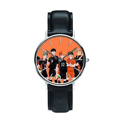 Anime Haikyu!! Relojes de Pulsera la Moda Reloj de Estudiante Niño Niña Reloj de Cuarzo Neutro Reloj Impermeable Pulsera de Cuero de Regalo Haikyu!! Regalo de los Fans Sorteo de Halloween-A3