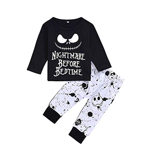 2PCs Toddler Infant Baby Boys Clothes Nightmare Long Sleeve Hoodie Tops Sweatsuit and Skull Pants Halloween Outfit Set (Black-1, 18-24 Months)