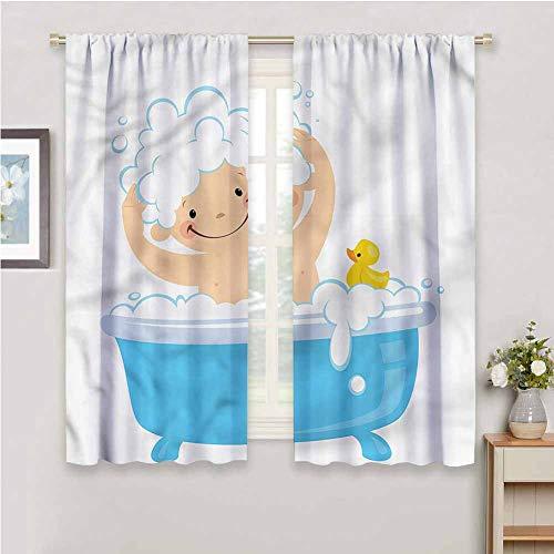 DIMICA Schiebevorhänge für Schlafzimmer Kinderzimmer Baby Junge mit einem Smiley-Gesicht Druck Schiebegardinen für Terrassendekor B 42 x L 63 Zoll