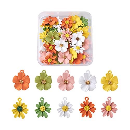 Beadthoven 40 colgantes de aleación de flores con diseño de margaritas pintadas en aerosol para hacer joyas y pendientes (2 estilos, 5 colores)
