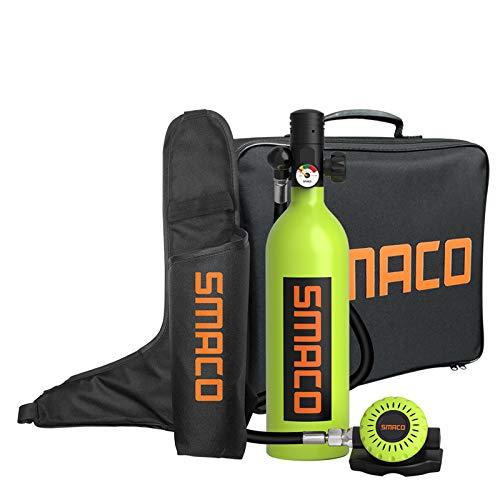 SMACO Botella de Buceo Equipo de Respiración Subacuática Botella de Oxígeno de Buceo 1L Soporta 15-20 Mins de Respiración Bajo el Agua(No más de 30m) Una Nueva Generación de Cilindros de Buceo, Verde