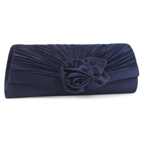 Damara Damen Blume Falten Clutch Hochzeit Handtasche,Marine Blau