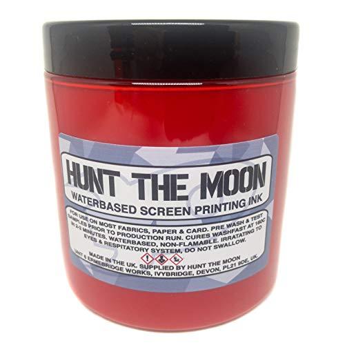 Hunt The Moon - Inchiostro per serigrafia a base d'acqua, colore rosso, 240 ml
