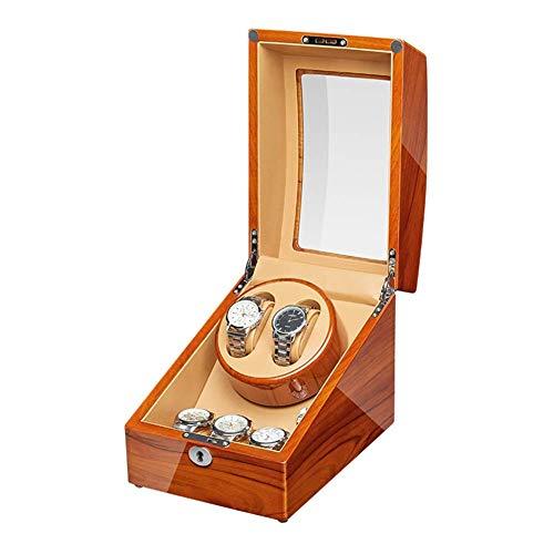 FACAIA Enrollador automático de Relojes de Madera de Manzana Caja enrolladora de Relojes Pintura de Piano Adaptador de Motor silencioso Exterior y Funciona con Pilas (Tamaño: 2 + 3)