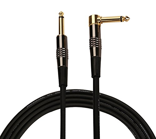 "Rayzm Cable de la Guitarra - 5m Silencioso Guitarra / Bajo Plomo, 1/4 "" (6.35mm) Straight to Right Angle Hombre Mono TS Instrumento Cable - Cobre Tapones con Oro Jacks."