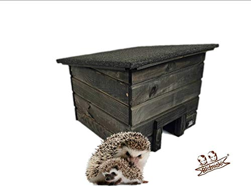 BLIZNIAKI Igelhäuser Das Igelhaus Igelhäuschen für nützliche Igel Igelhöhle Holzhäuschen mit Labirynt SCHWARZ Farbe (HDJ1 CZ)