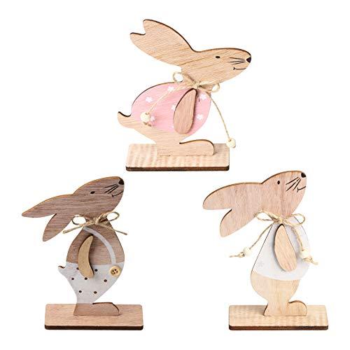 Conejos de madera de Pascua, 3 piezas Adornos de mesa de conejito Conejo de escritorio de madera con pajarita DIY Artesanía de madera Juguetes Decoración Adornos para regalo de Pascua