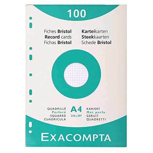 Exacompta 13606E Karteikarten (205q/qm Karton, holzfrei, DIN A4, kariert, gelocht) 100er Pack weiß
