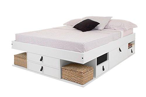 Cama Funcional Bali 160x200 cm Blanco - Estructura con Mucho Espacio de almacenaje y cajones, Ideal para dormitorios pequeños - Madera Maciza de Pino y MDF Lacado - Incl. somier de Madera